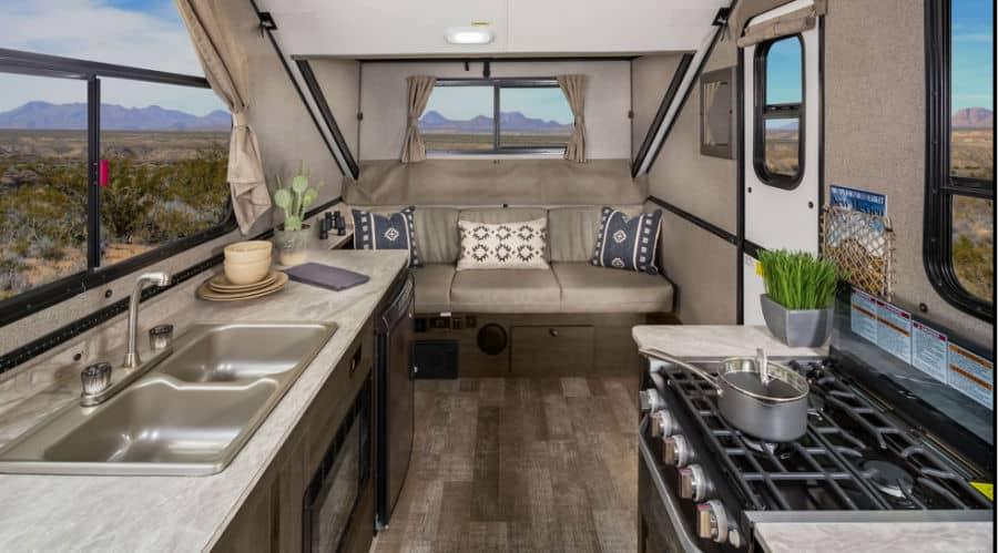 Interior of a Rockwood a frame camper
