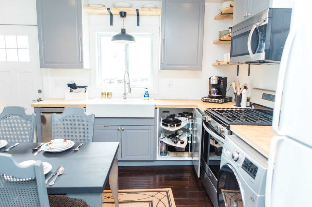 The kitchen area of the Smiths' Tuff shed tiny house