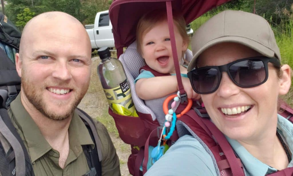 Glen with wife and daughter going hiking - starting a bookkeeping business helps Glen choose his own schedule