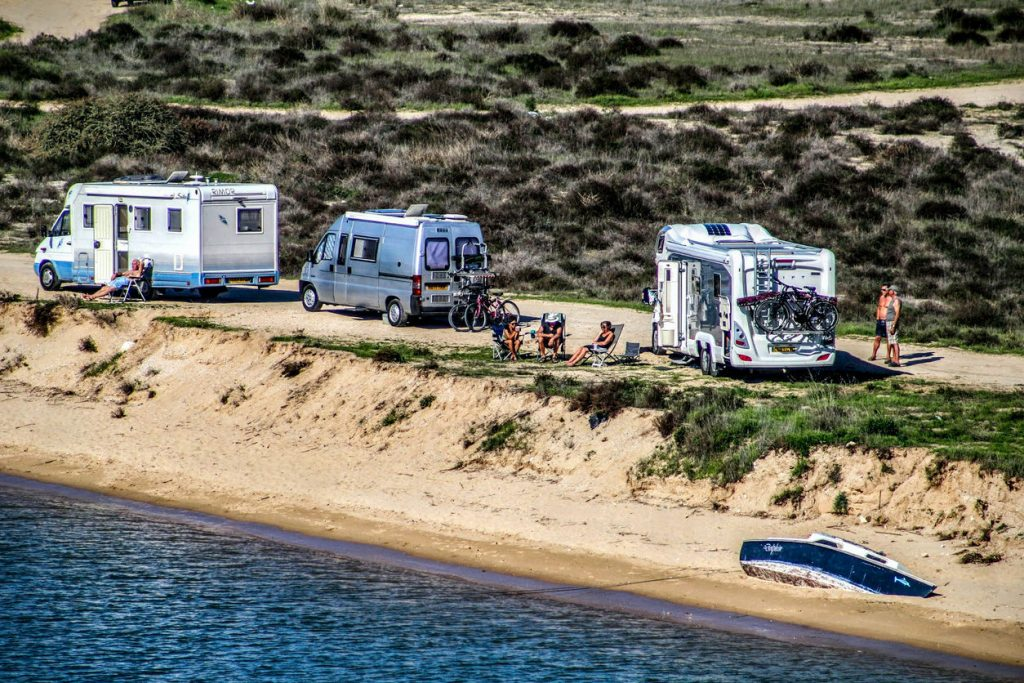 Escapees RV Club members parked alongside a beach