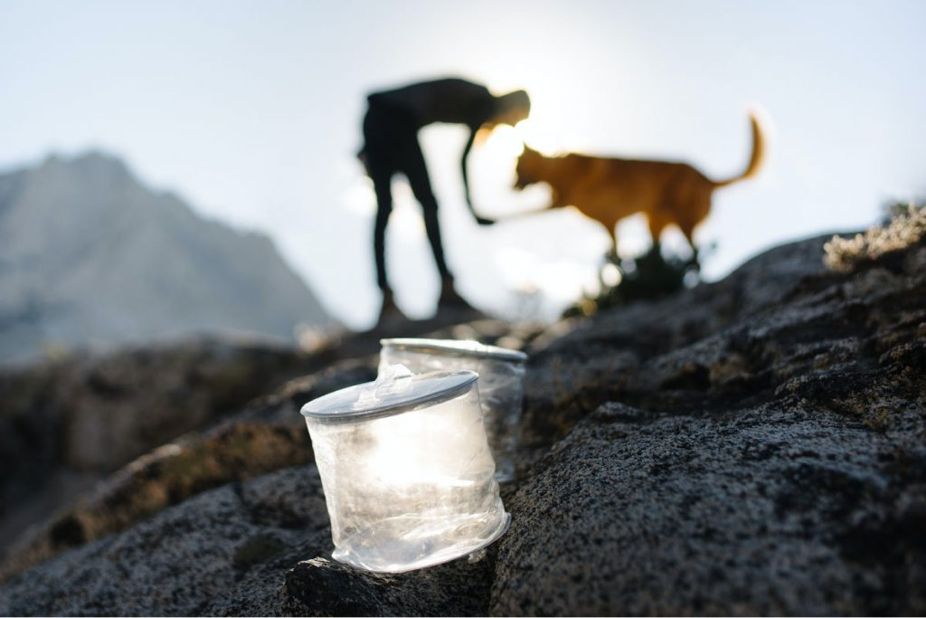 Two M Powered Solar Camping Lanterns with a person and dog int he background