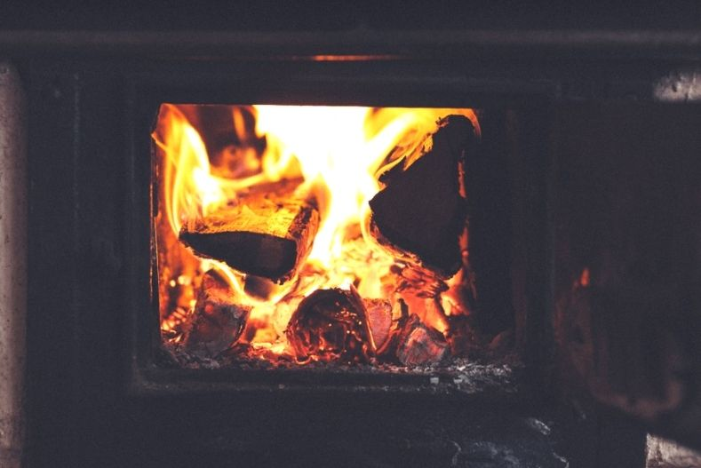 Fire crackling in a wood burning stove