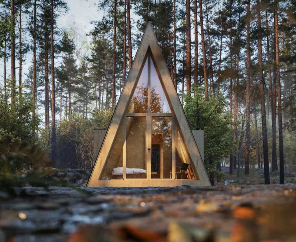 A frame tiny house in the forest