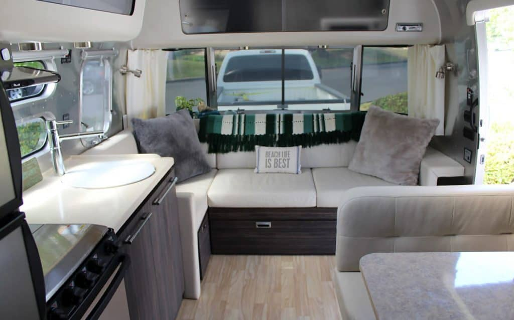 The interior of an Airstream Interstate for rent in Los Angeles