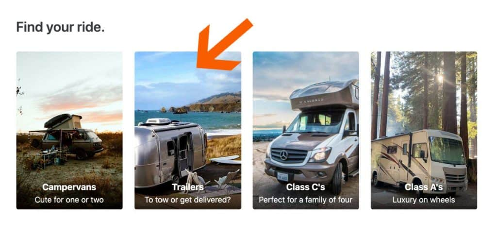 Trailers and RV rentals on Outdoorsy's home page
