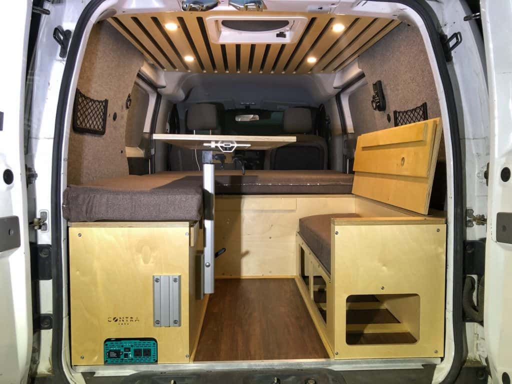 Contravans offers a variety of van conversion kits, such as this bench seat layout
