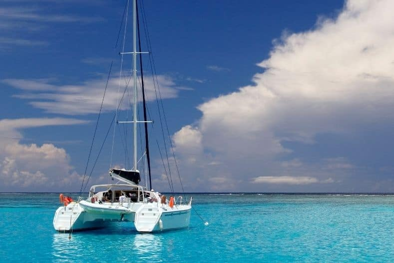 Catamaran on crystal clear water