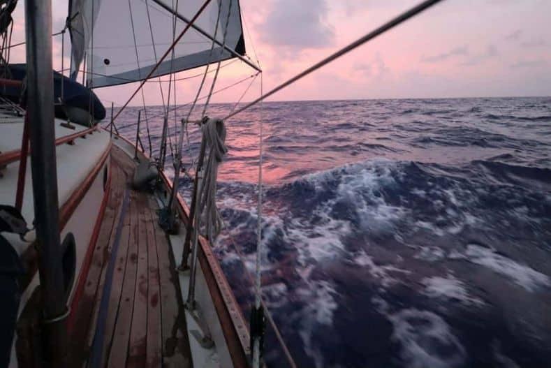 Ocean crossing sailboat in choppy waters