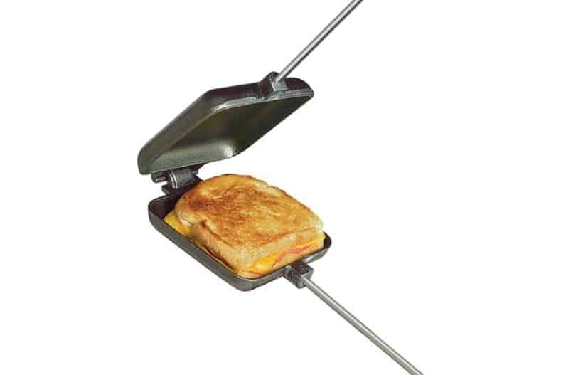 Pie Iron with grilled cheese sandwich inside