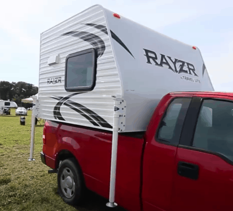 Travel Lite Rayzr Best Slide in Truck Camper for Small Trucks on a red pickup