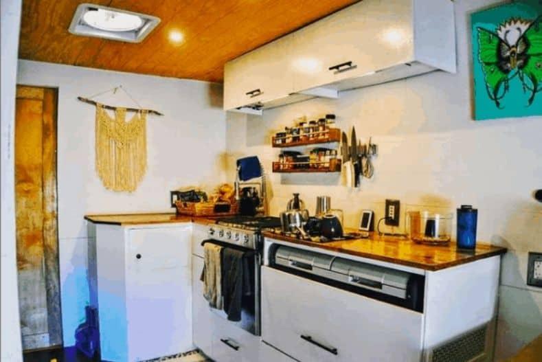 Adventure box truck camper conversion kitchen