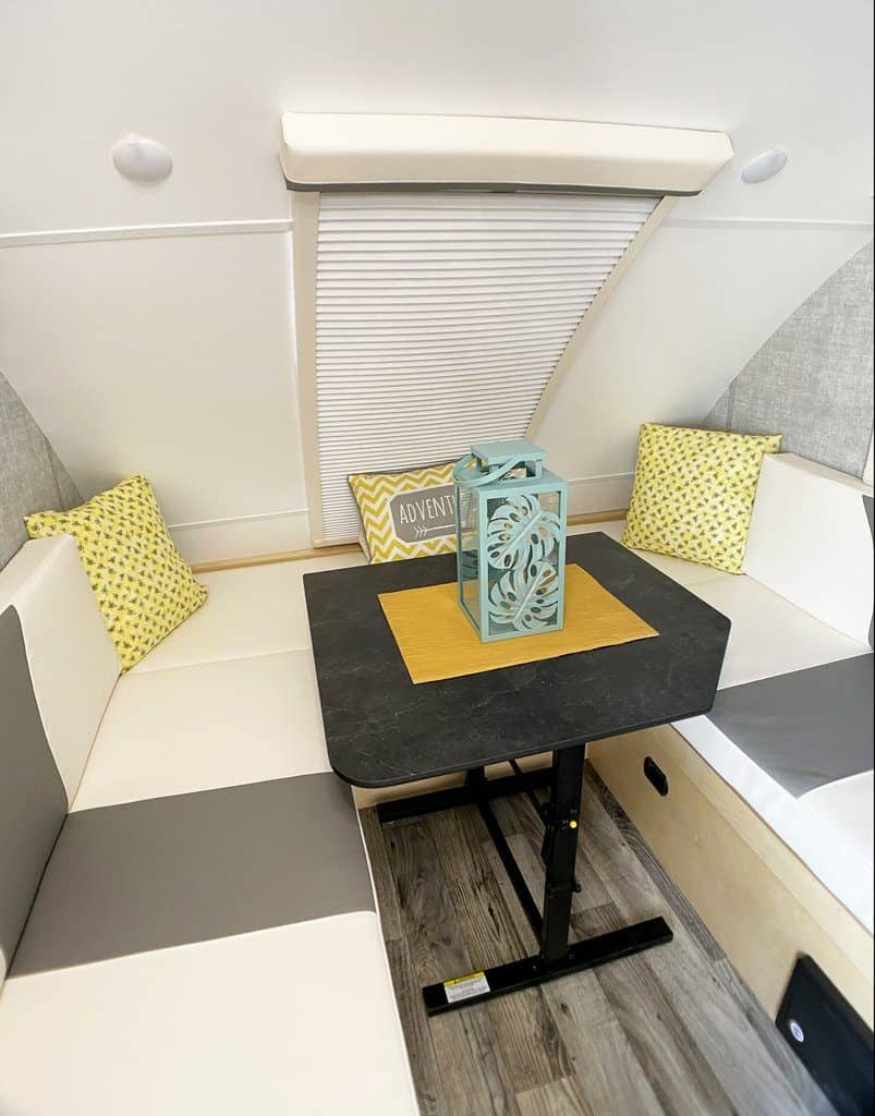 Little Guy MiniMax teardrop camper interior with dinette and stargazer window