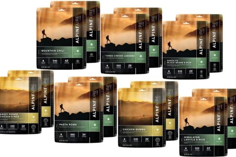 Assorted dehydrated backpacking meals in packaging