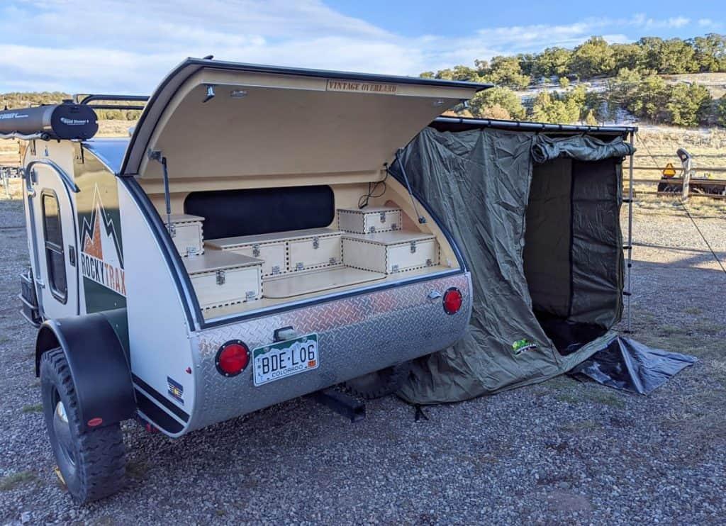 Exterior kitchen in a teardrop camper trailer