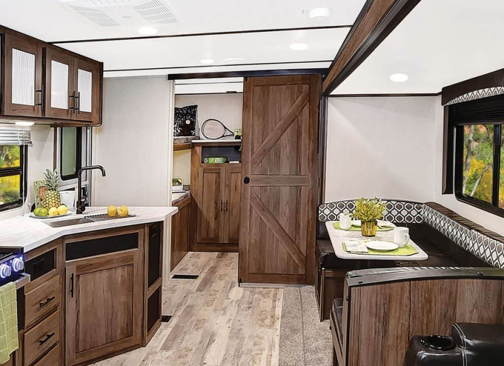 Interior of the Avenger travel trailer with two bathrooms