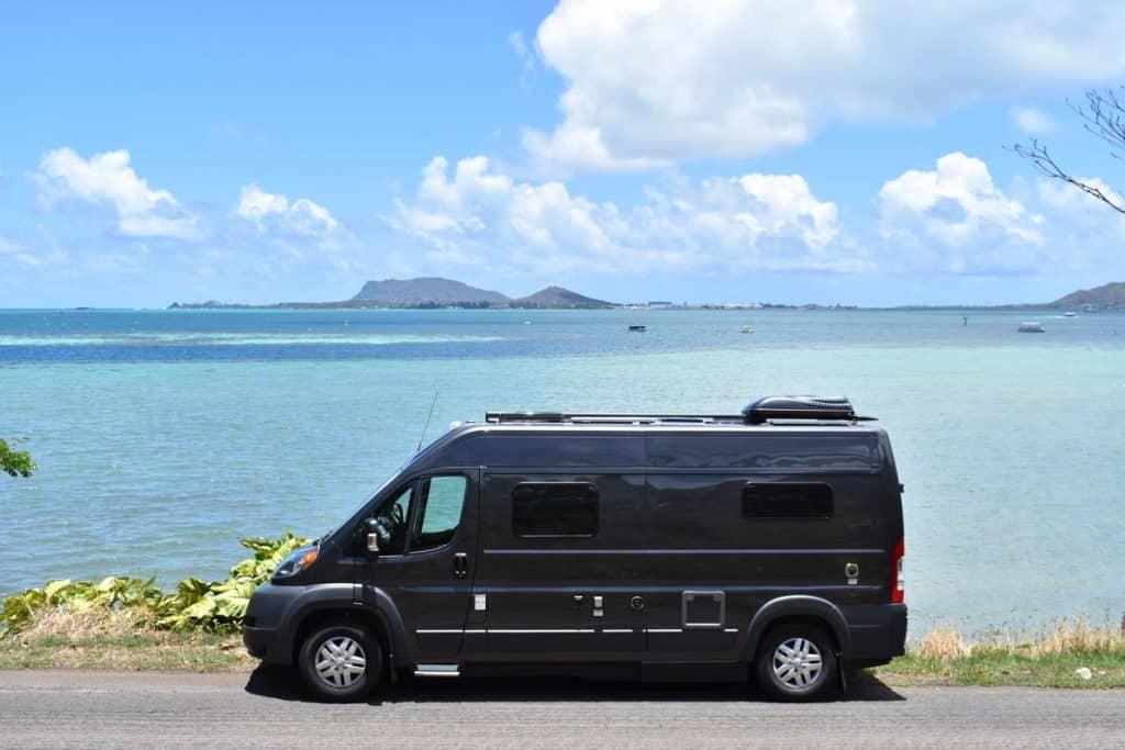 Hymer Active camper van rental parked near the ocean in Hawaii