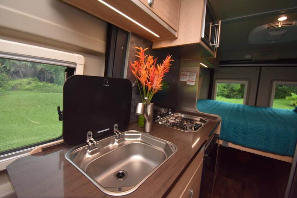 Interior of Hymer Active camper rental for Hawaii road trip