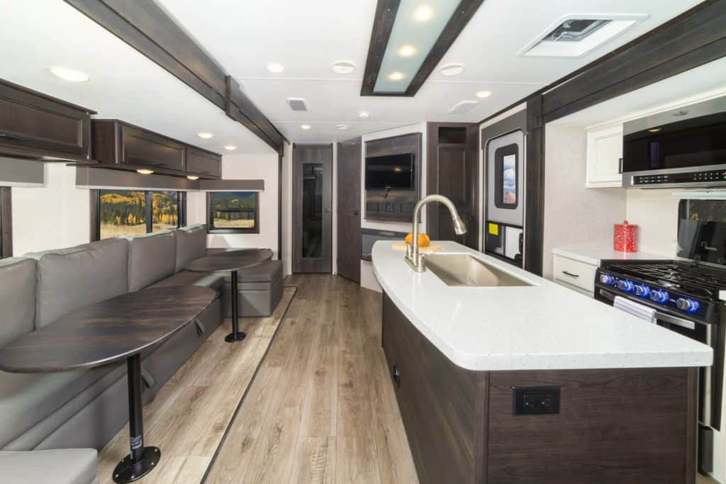 Interior of the Open Road travel trailer with two bathrooms