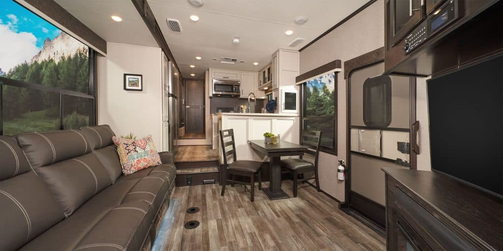 Interior of the Jayco travel trailer with two bathrooms