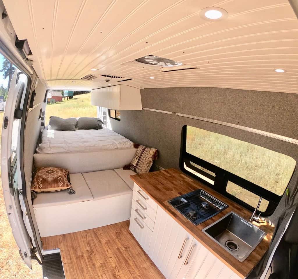 Sprinter camper van rental interior from Outdoorsy