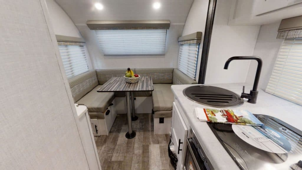 Interior of R Pod small travel trailer with slide out