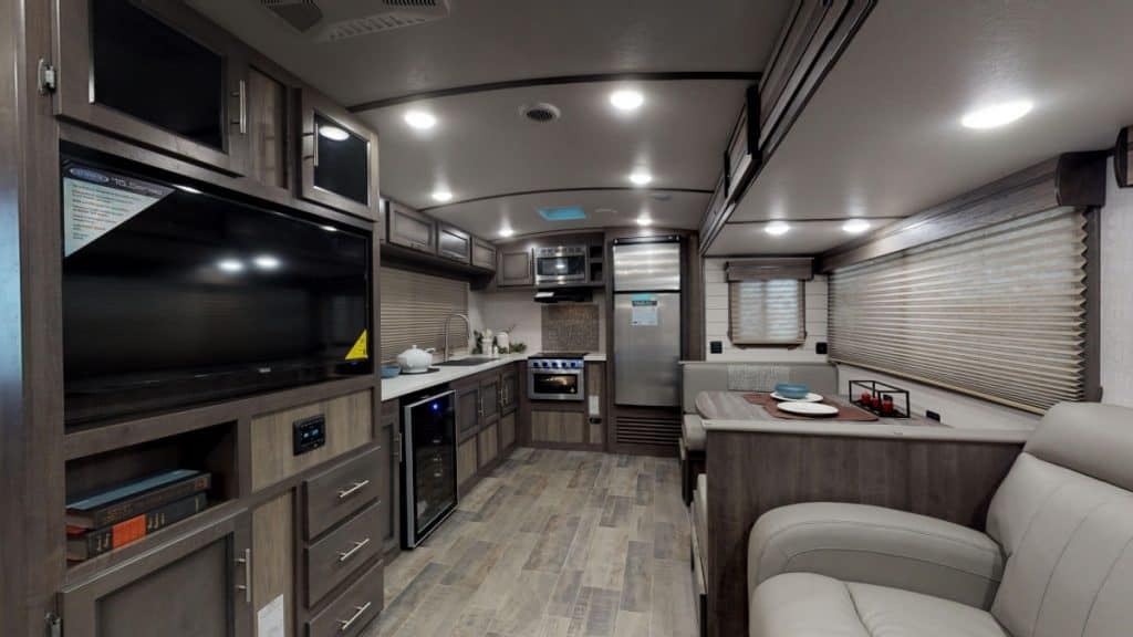 Interior of the Sunset Trails travel trailer with two bathrooms
