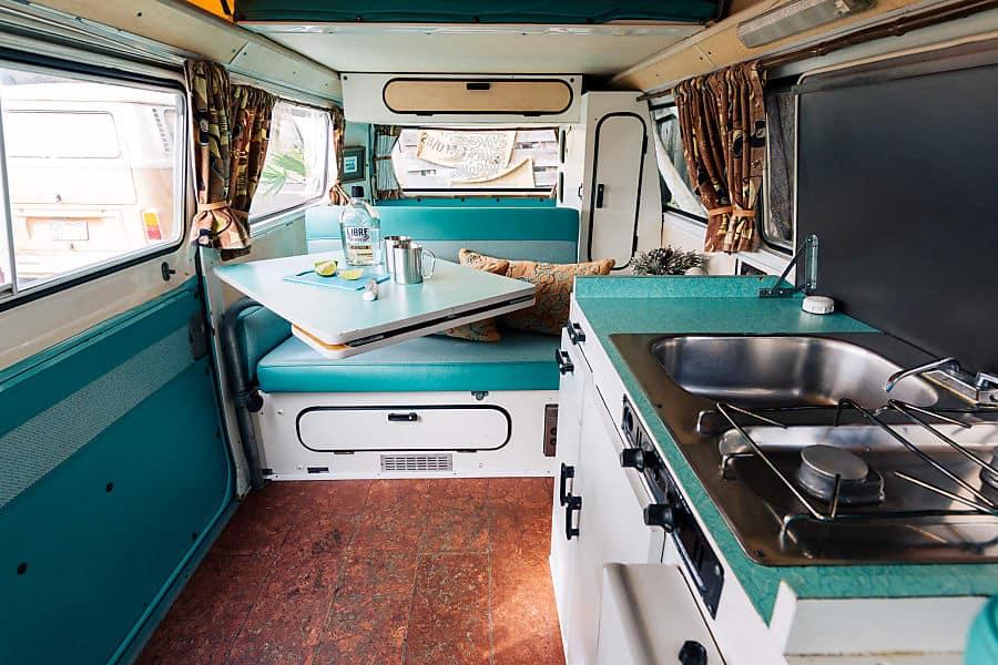 Interior of a VW Westfalia camper van rental