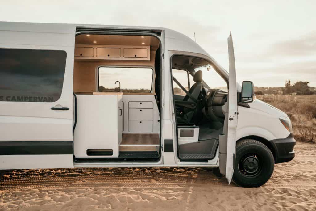 Vancraft Spriunter van rental with side door open