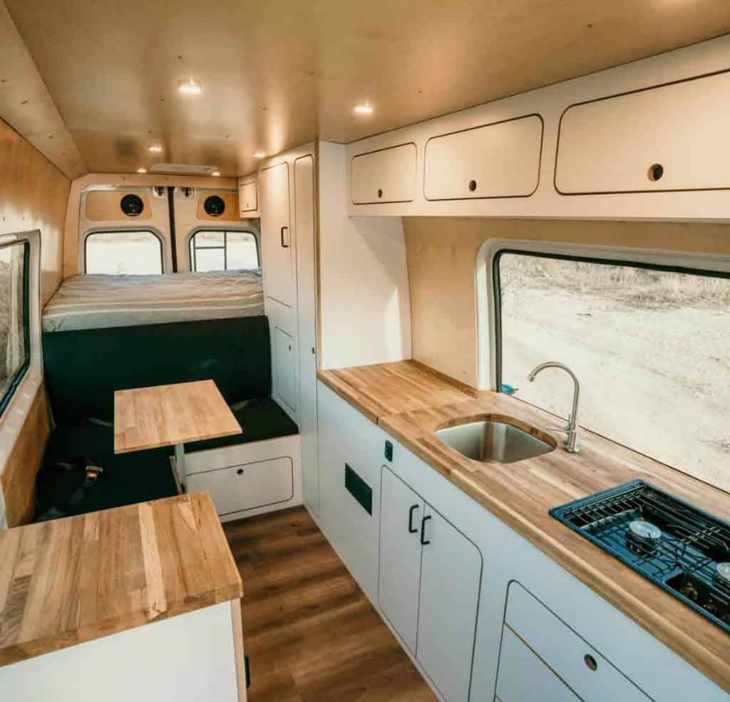 Interior of Van Craft Mercedes Sprinter van rental for road trip