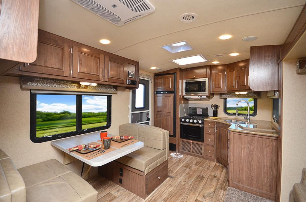 Interior of the Arctic Fox best 4 season travel trailer