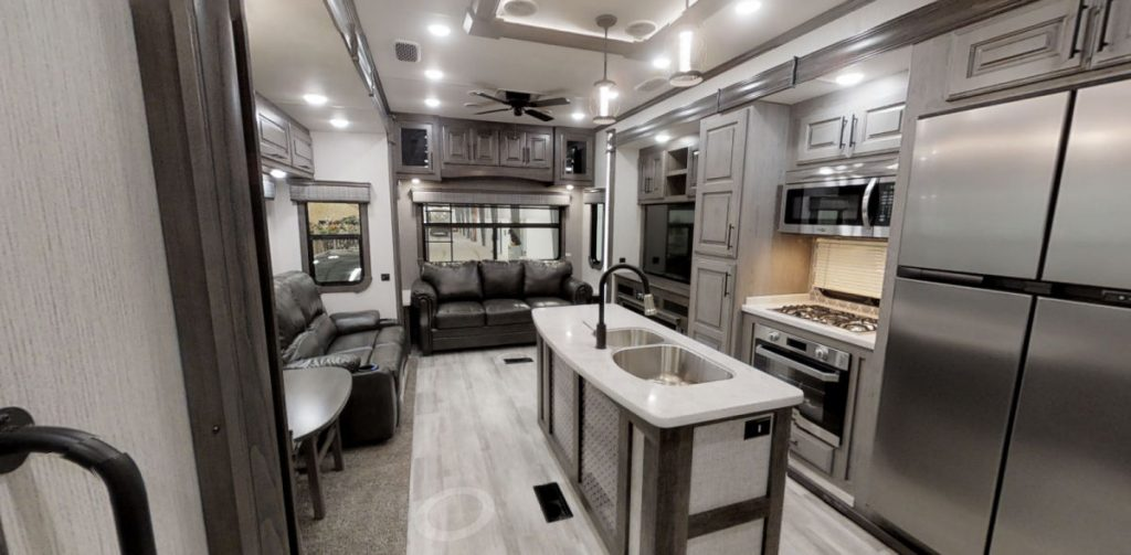 Interior of the Bighorn best 4 season travel trailer