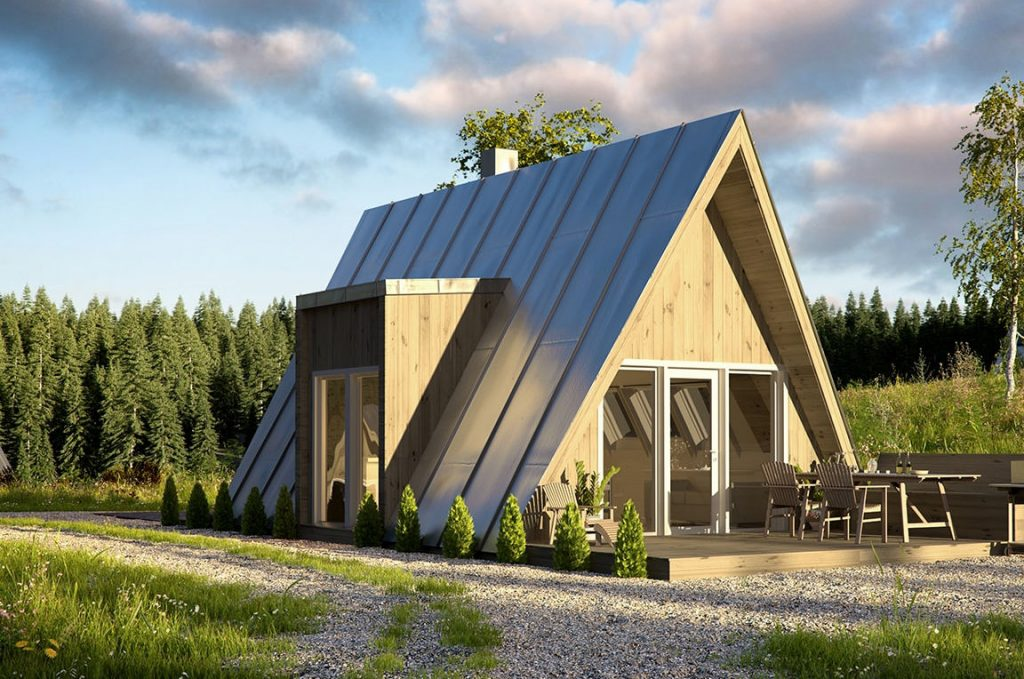 Duo A Frame tiny house parked near a forest
