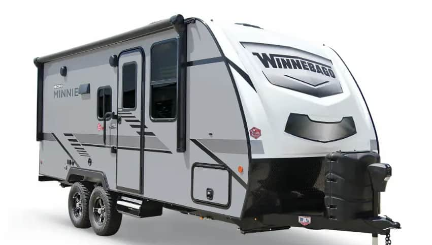 Exterior of Winnebago Minnie, one of the best travel trailers under 6000 lbs