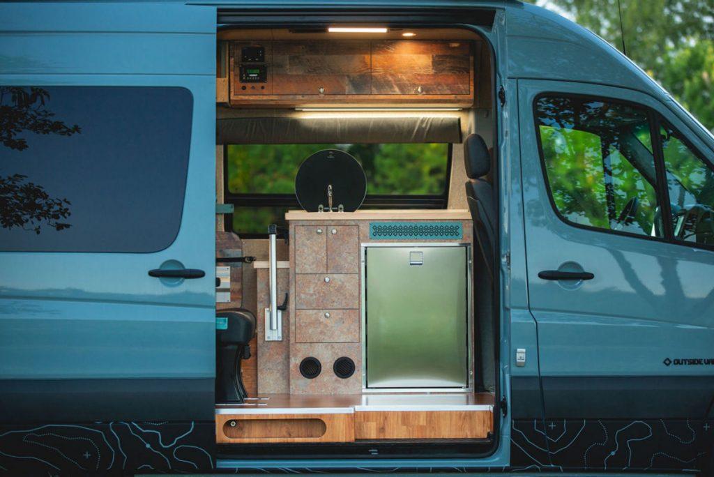 The inside of an Outside Van custom Class B RV