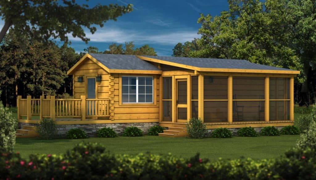 Parkside tiny log cabin kit with sunroom and deck