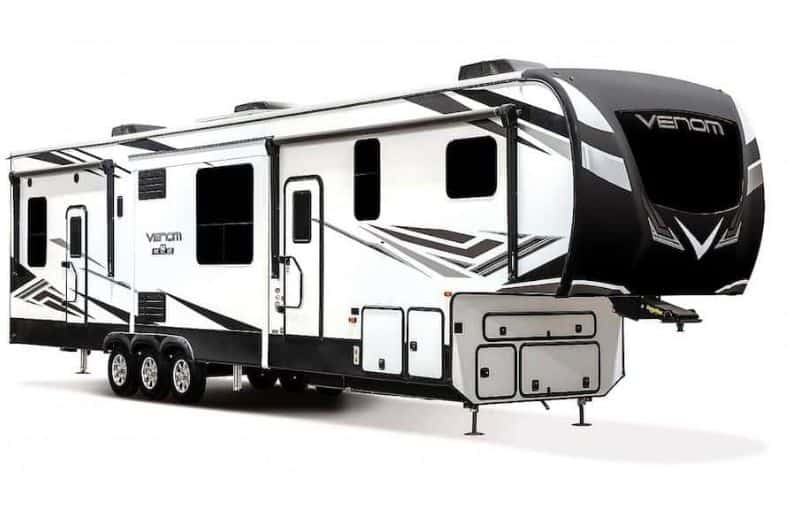 Best Fifth Wheel Toy Hauler For Full-Time Living: KV Venom 4113TK exterior view