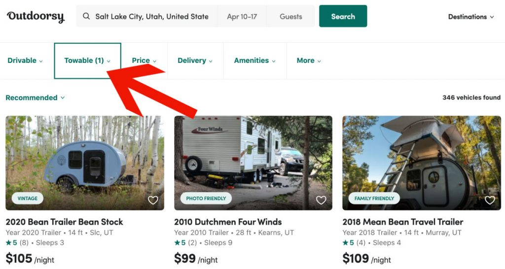 Click Towable when searching for a camper trailer for rent on Outdoosy