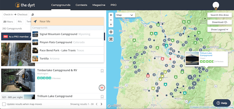The Dyrt Pro Review: Screenshot of finding free campsites