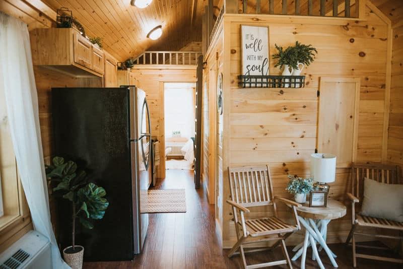 Interior of Cripple Creek's tiny cabin for sale