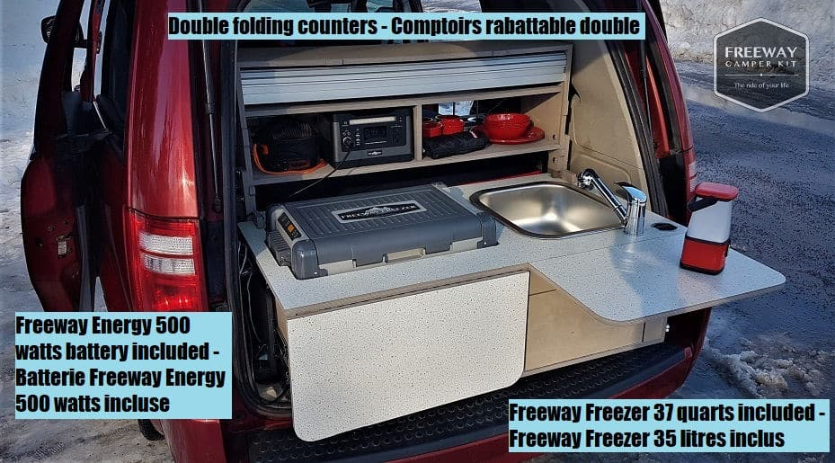 The rear of a Freeway Camper Conversion kit perfect for a Toyota Sienna camper