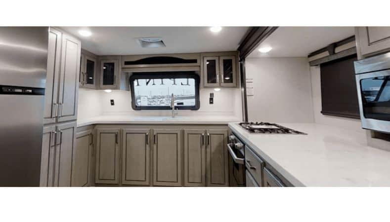 Keystone Alpine front kitchen fifth wheel kitchen view