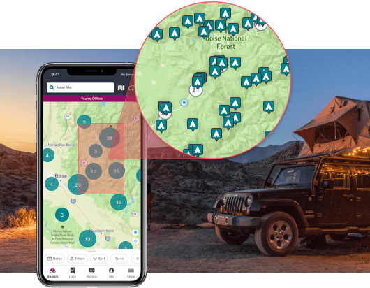 The Dyrt Pro app shows layers to help find free camping in California