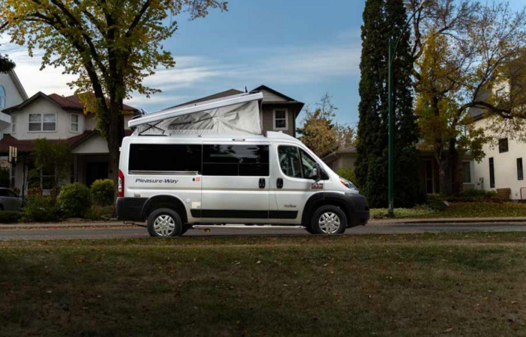 Pleasure Way Tofino Cheapest Class B RV parked in a neighborhood