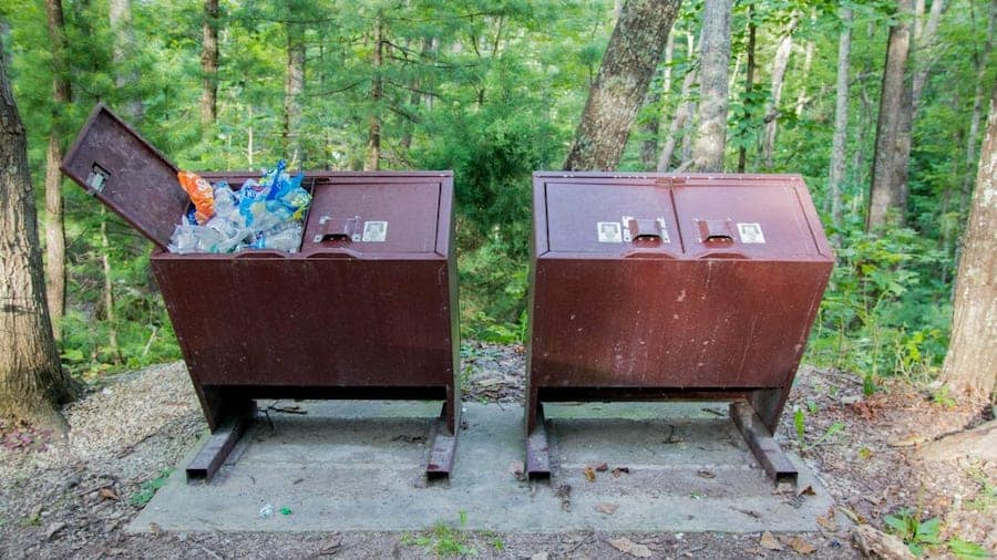 Trash cans in a national forest