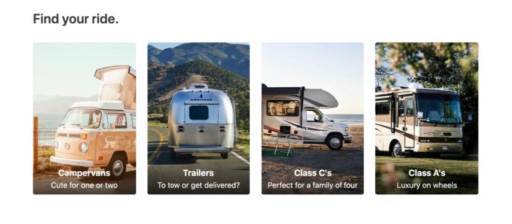 Selecting a camper trailer rental on the Outdoorsy website