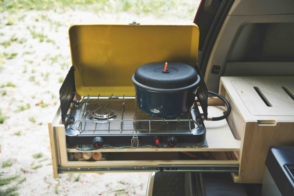 Roadloft kit with pull out stove for a Toyota Sienna camper