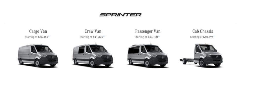 Sprinter van cost according to Mercedes Benz website