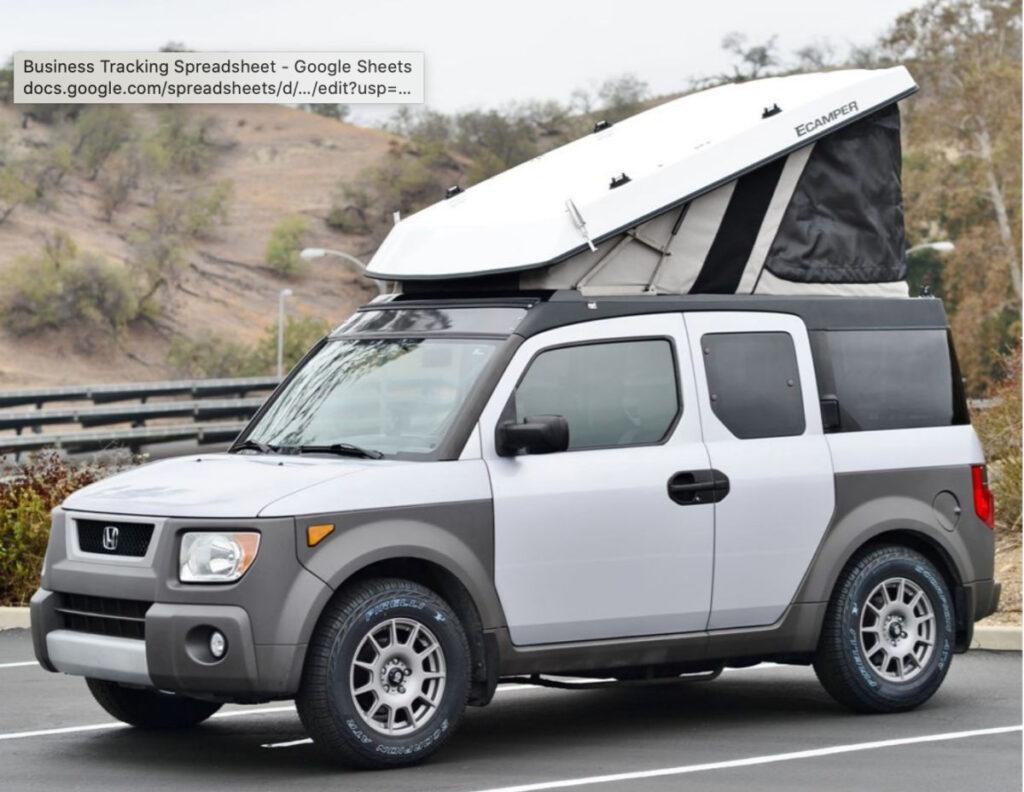 Ursa Minor pop top camper on a Honda Element