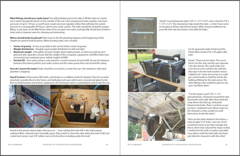 Example of pages in Sprinter RV Conversion Sourcebook