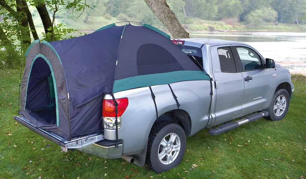 Grey pickup truck with Guide Gear best truck bed tent